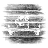 Journaler timmer med en skalle stock illustrationer