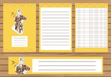 Journaling cards, notes, stickers, labels, tags with illustration of young fashion girl. Template for scrapbooking Royalty Free Stock Images