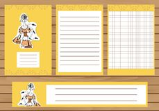 Journaling cards, notes, stickers, labels, tags with illustration of young fashion girl. Template for scrapbooking Royalty Free Stock Photos