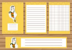 Journaling cards, notes, stickers, labels, tags with illustration of young fashion girl. Template for scrapbooking Stock Photos