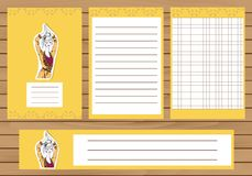Journaling cards, notes, stickers, labels, tags with illustration of young fashion girl. Template for scrapbooking Stock Photography