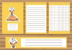 Journaling cards, notes, stickers, labels, tags with illustration of young girl in tribal dress. Template for Royalty Free Stock Photography