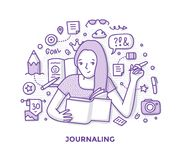 Journaling Doodle. Illustration of young woman, making notes in journal, writing her diary capturing memories of life. Hand writing and journaling doodle concept royalty free illustration