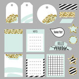 Journaling planner card notes and tags. Memo stickers for organizers and diary. Gold glitter and pastel mint accents decor royalty free illustration