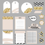Journaling planner card notes and tags. Memo stickers for organizers and diary. Gold glitter and pastel pink accents decor stock illustration
