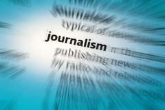 Journalism. The activity or profession of writing for newspapers or magazines or of broadcasting news on radio or television Stock Image