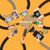 Journalism concept  illustration in flat style.Vector live report concept, live news, hands of journalists with microphones, Royalty Free Stock Photos