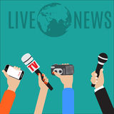 Journalism concept vector illustration in flat style. Vector live report concept, live news, hands of journalists with microphones, smartphone and tape Stock Photos