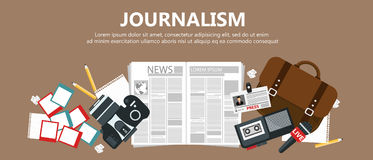Journalism flat banner Royalty Free Stock Photos
