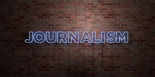 JOURNALISM - fluorescent Neon tube Sign on brickwork - Front view - 3D rendered royalty free stock picture Royalty Free Stock Images