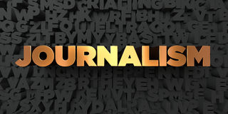 Journalism - Gold text on black background - 3D rendered royalty free stock picture. This image can be used for an online website banner ad or a print postcard Royalty Free Stock Photo