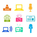 Journalism Icons Set. Set of  journalism icons. Modern flat symbols of journalism including computer, news, reporter, camera, accreditation, pencil and notebook Stock Photography