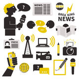 Journalism Icons Set. Set of vector journalism icons. Modern flat symbols of journalism including computer, news, reporter, camera, accreditation, pencil and Stock Images