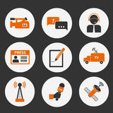 Journalism Icons Set. Set of vector journalism icons. Modern flat symbols of journalism including computer, news, reporter, camera, accreditation, pencil and Royalty Free Stock Photo