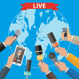 Journalism, live report, hot news. Few hands of journalists with microphones, tape recorder and smartphone. journalism, live report, hot news, television and Stock Image