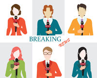 Journalism male and female reporters holding microphones. Royalty Free Stock Photo