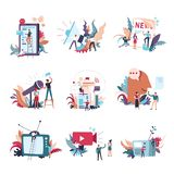 Journalism mass media news vector people icons. Journalism, mass media news and information conceptual icons. Vector small people with newspaper or TV and radio stock illustration
