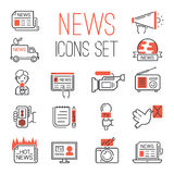 Journalism media hot tv news outline black communication and chat information online red icons communicate set Royalty Free Stock Images