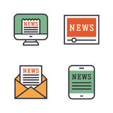 Journalism media hot tv news outline black communication and chat information online red icons communicate set Stock Image