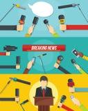 Journalism news banner concept set, flat style vector illustration