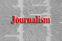Journalism written in red with a newspaper article blurred Stock Photos
