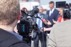 journalisme Conférence de presse Événement de media photos libres de droits