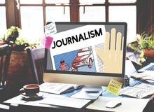 Journalismus-Artikel-Interview-Nachrichten veröffentlichen Berichts-Konzept lizenzfreies stockbild