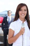 Journalist at airport Stock Image