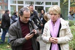 Journalist Alexander Podrabinek interviewing the Stock Images