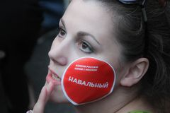 Journalist Alexandra Astakhovf at the rally in support of Navalny Stock Photo