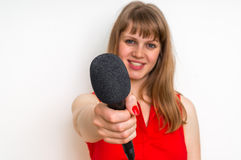 Journalist with black microphone making interview. Journalism and broadcasting concept Stock Photos