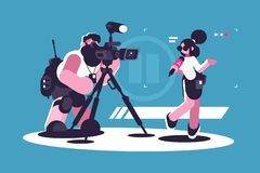 Journalist and cameraman doing report together stock illustration