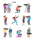Journalist cameraman. People make tv broadcast. Videographers with camera and journalists with microphones. News crew. Vector characters reporte and, operator royalty free illustration