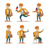 Journalist Cartoon Character Set stock illustrationer