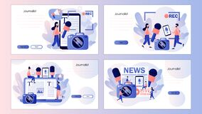 Free Journalist Concept. Mass Media News. TV, Newspaper, Internet And Radio Journalism. Screen Template For Landing Page Royalty Free Stock Image - 225089186