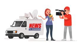 Journalist conducts a report from the scene of the events. Profession correspondent and videographer. Car of the news channel. Vector illustration in a flat Stock Photos