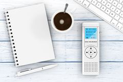 Journalist Digital Voice Recorder or Dictaphone, Keyboard, Blank. Note Pad with Pen and Cup of Coffee on a wooden table. 3d Rendering Stock Photography