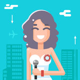 Journalist Female Girl Icon Mass Media Symbol on Stylish Background Flat Design Template Vector Illustration Stock Photo