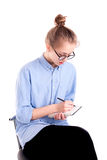Journalist girl white text in notepad isolated Stock Photography