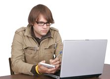 Journalist guy with laptop computer Stock Image