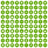 100 journalist icons hexagon green. 100 journalist icons set in green hexagon isolated vector illustration Stock Photos