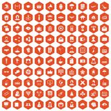 100 journalist icons hexagon orange. 100 journalist icons set in orange hexagon isolated vector illustration Vector Illustration