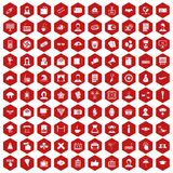 100 journalist icons hexagon red. 100 journalist icons set in red hexagon isolated vector illustration vector illustration
