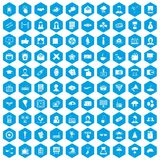 100 journalist icons set blue. 100 journalist icons set in blue hexagon isolated vector illustration stock illustration