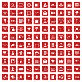 100 journalist icons set grunge red. 100 journalist icons set in grunge style red color isolated on white background vector illustration Stock Photo