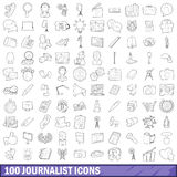 100 journalist icons set, outline style Stock Photo