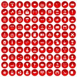 100 journalist icons set red. 100 journalist icons set in red circle isolated on white vectr illustration Stock Images
