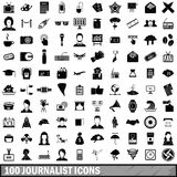 100 journalist icons set, simple style. 100 journalist icons set in simple style for any design vector illustration Royalty Free Stock Photo