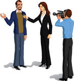 Journalist interviewing a man Royalty Free Stock Photos