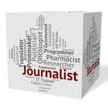 Journalist Job Represents Copy Editor And Correspondents. Journalist Job Indicating Lobby Correspondent And Newspaperwoman Royalty Free Stock Photography